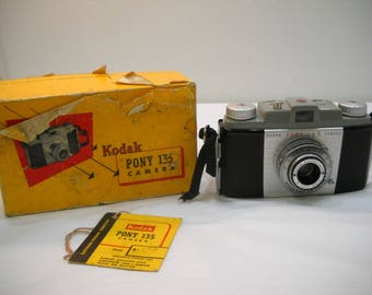 Vintage Kodak Pony 135 Camera With Original Box And Price Tag