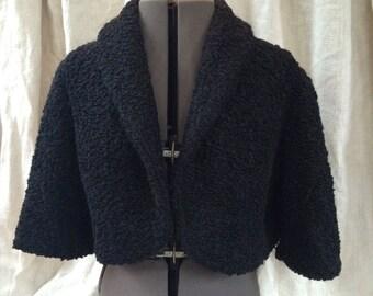 Vintage Bolero Jacket black Curly Wool Size L 12 14 Union Label -OCH