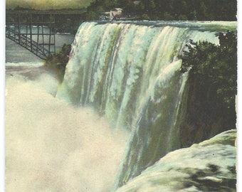 Niagara Falls Postcard, New York State American Falls from Goat Island, Antique 1913 Ephemera, FREE SHIPPING