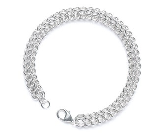 Chainmail Bracelet, Sterling Chainmail, Full Persian Weave, 25 Year Anniversary, Mens Chainmail, Womens Chainmail, 25th Anniversary, Canada