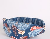 Cat Canoe Kitty Bed made in Art Nouveau navy wave and flower cotton fabric - Modern cat bed - bed for cats and small dogs