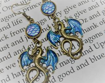 Dragon Earrings, Blue Dragon Earrings, Flying Dragons, Throne Dragons,  Dragon Jewelry