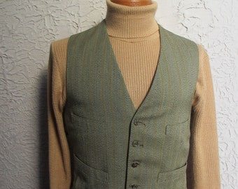 50's Vintage Men's Satin Back Herringbone Striped Vest small