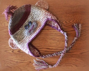 Sock Monkey Hat, with earflaps and braids (size toddler/child)