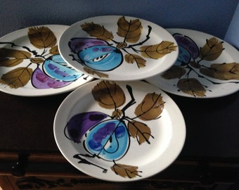 Set of 4 Vera Neumann Plates, Forbidden Fruit Pattern Vera Plates, 1970's made in Jamaica, Hand Painted Vera Ladybug Plates
