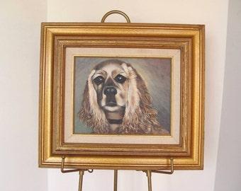 Vintage Framed Buff COCKER SPANIEL Dog Original Oil PAINTING Art Irene Johnson