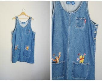vintage tigger pooh disney jean denim overall dress -- womens xlarge