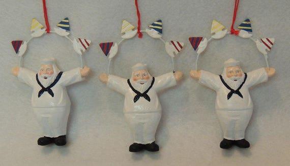3 Sailor Santa Ornaments With Sailboats.. Retired Dept. 56.. Nautical Christmas