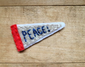 Peace Pennant. Hand Embroidered Patch.