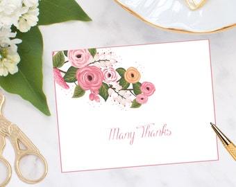 Many Thanks Watercolor Floral Note Cards