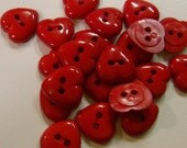 20 Deep Red Medium Heart Buttons Size 1/2""