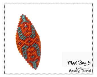 Beading Pattern Peyote Stitch Shield Shape Triangle Tribal Rings Charted Instructions DIY beaded Jewelry Tutorial PDF Download MADRING 5