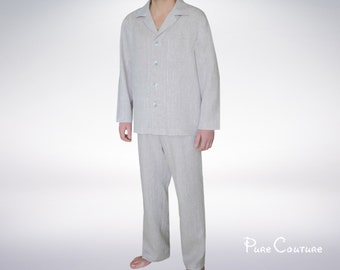Family pajama Mens sleepwear set Pyjamas Lingerie for men Linen clothing Lounge wear Linen suit Linen jacket & pajama pants men Leisure wear