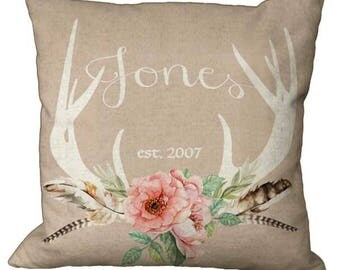 Feather and Floral Deer Antler Burlap Linen Cotton Custom Name in Choice of 14x14 16x16 18x18 20x20 22x22 24x24 26x26 inch Pillow Cover