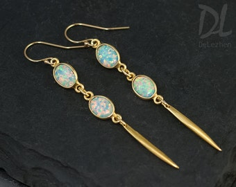 Opal Long Gold Dangle Earring - Minimal Jewelry - Spike Earrings - Long thin Gold Earrings - Needle Earrings - Modern Earrings