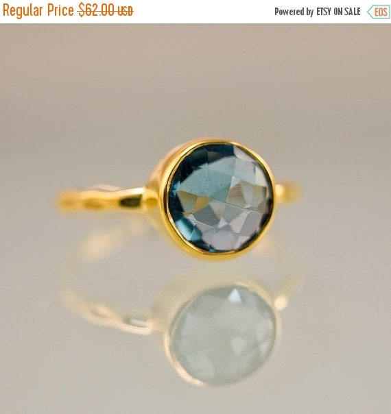 SALE - London Blue Topaz Ring Gold - December Birthstone Ring - Solitaire Ring - Stackable Stone Ring - Gold Ring - Round Ring