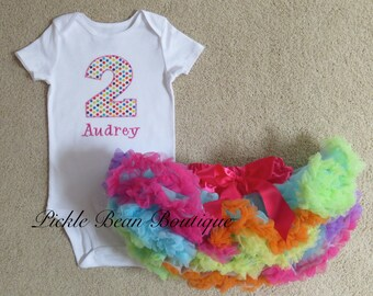 1st Birthday Girl Outfit - Pink Bubblegum Candy Dots Bodysuit - Rainbow Pettiskirt - Baby Tutu - Girls First Birthday Outfits
