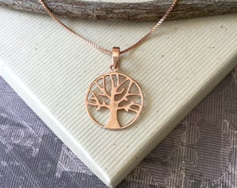 Rose gold vermeil tree of life pendant necklace, pink gold tree, family tree, minimalist nature jewelry, box chain N264B