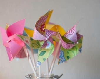 Sesame Street Party Decor 12 Mini Pinwheels Sesame Street SALE (custom orders welcomed)