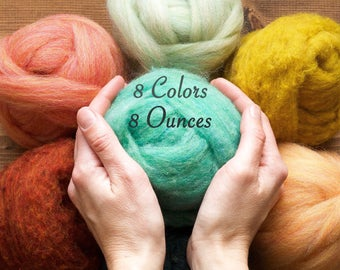 Needle Felting Wool Assortment, YOU CHOOSE 8 Colors // 8 Ounces, Mix and Match, Roving, Batting, Fiber Sampler, Wet Felting, DIY Supply