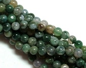 ON SALE Moss Agate (natural) Stone Bead, 6mm round, you pick 8 beads, 16 beads, half strand, or full 16 inch strand