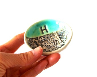 """PRE-ORDER, 2 1/2"""" Personalized Ring Dish, Ceramic, Handmade Pottery, by RiverStone Pottery"""