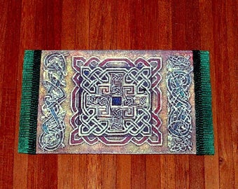 Book of Kells Area Rug, Medieval Dollhouse Miniature, 1/24 Scale Size, Hand Made