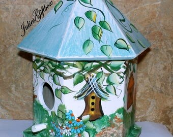 Garden Cottage Bird House - Indoor Decorative Painted Birdhouse -  Ready To Ship