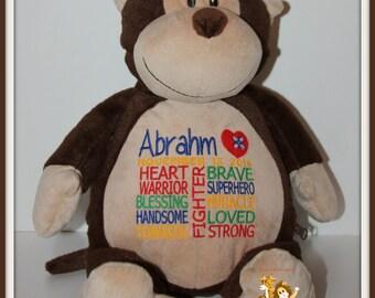 CHD, personalized Monkey, Warrior Pet, stuffed animal, Heart Warrior