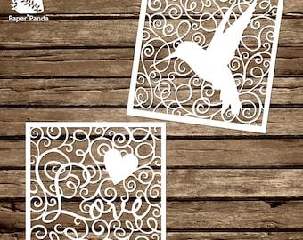 PAPER PANDA Papercut DIY Design - 'Swirls' - Hummingbird & Love