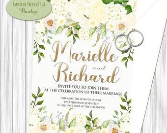 Cream Hydrangea Clipart,Cream roses clipart,Cream peony Clipart,drop arrangement clipart,hydrangea clipart,watercolor,wedding invitation