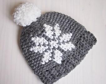 Crochet pattern Nordic snowflake knit look hat women Sweedish pom pom beanie  , DIY,  Instant download