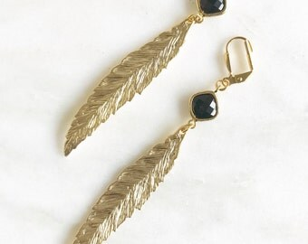 Gold Leaf Earrings with Black Stones.  Long Gold Fashion Earrings. Feather Earrings.  Leaf Earrings. Big Feather Earrings. Jewelry.