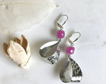 SALE - Open Loop Silver Drops with Fuchsia Stones