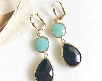 Black Teardrop and Aqua Stone Dangle Earrings in Gold. Black Jewel Dangle Earrings.  Blue Black Earrings. Jewelry Gift. Earrings.