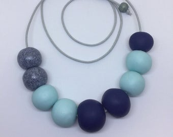 Clay bead necklace, clay necklace, statement necklace, blue clay necklace, adjustable necklace, cord necklace, beaded necklace, polymer clay
