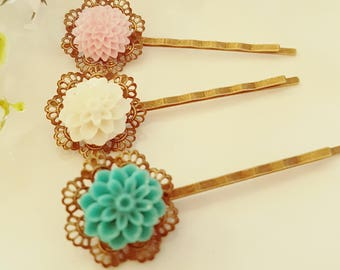 Rose Bobby Pins Flowers For Hair Floral Hair Accessories Hair Pin Girls Hair Clips  Vintage Style Set of Four (3)