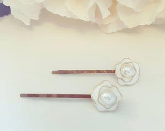 Vintage Rose Pearl Cluster Hair Pins, Bridal Hair Pins, Bobby Pins,  Bridal Hair Pin Set, Rose Pearl Bobby Pins