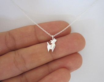Small ORIGAMI CAT sterling silver charm delicate necklace, minimalistic charm jewelry