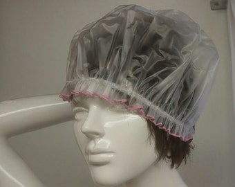 Hand Made Nylon PVC with elastic and pink embroidered edge