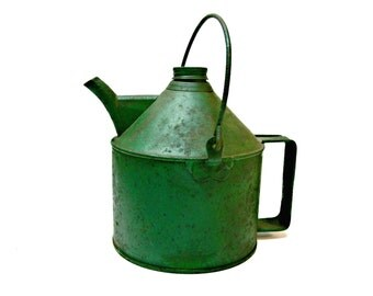 Green Metal Oil Can with Handle from the New York Central System Railroad - Vintage Gas Fuel Container - Industrial Farmhouse Country Decor