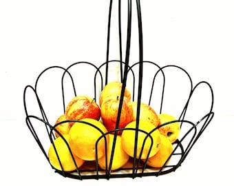 Large Black Metal Basket for Fruit, Books, Towels - Storage Container - Vintage Farmhouse Cottage Country Decor