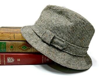 Vintage Kangol English Vagabond Tweed Wool Fedora Hat - Size Large Men's - Brown Gray Camel