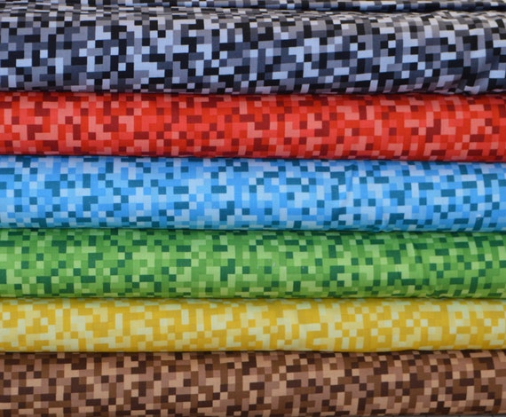Michael miller bitmap in black red blue green yellow and for Minecraft fabric by the yard