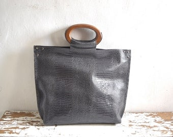 SALE Leather Top Handle Tote in Python Effect Slate Grey - Wood Handles and Pockets. Ready to Ship