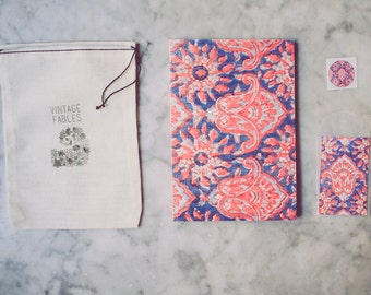 Notebook, Blank Pages, Journal, Sketchbook, Vintage Indian Block Print, Pink and Blue, gifts under 20, stocking stuffer