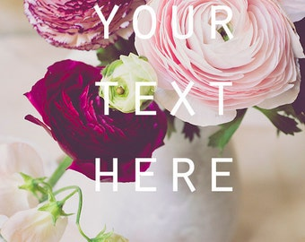 """Social Media Photo, Styled Stock Photo, Instagram, Instant Download Photo, Printable Photo, Ranunculus, 8.5"""" x 11"""", Pastel Colors"""