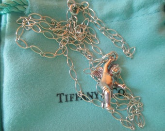 Tiffany & Co. Sterling Cherub Angel Charm Oval Open Link Chain Box Bag