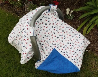 Baby Car Seat Canopy and Matching booties - Anchors