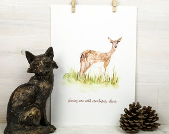 Personalised New Baby Gift, Deer Watercolour Art Print, Naming Day Gift, Christening